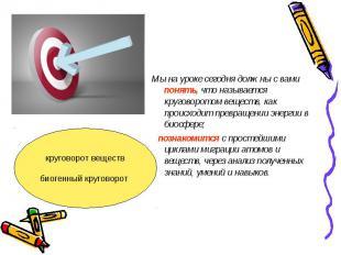 Мы на уроке сегодня должны с вами понять, что называется круговоротом веществ, к