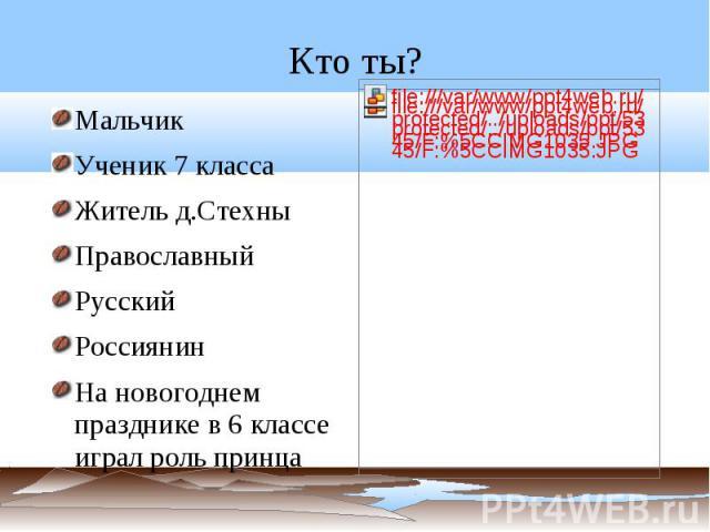 Кто ты? Мальчик Ученик 7 классаЖитель д.Стехны ПравославныйРусскийРоссиянинНа новогоднем празднике в 6 классе играл роль принца