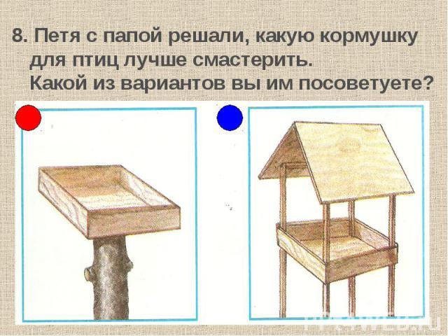 8. Петя с папой решали, какую кормушку для птиц лучше смастерить.Какой из вариантов вы им посоветуете?