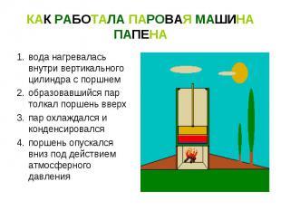 КАК РАБОТАЛА ПАРОВАЯ МАШИНА ПАПЕНАвода нагревалась внутри вертикального цилиндра