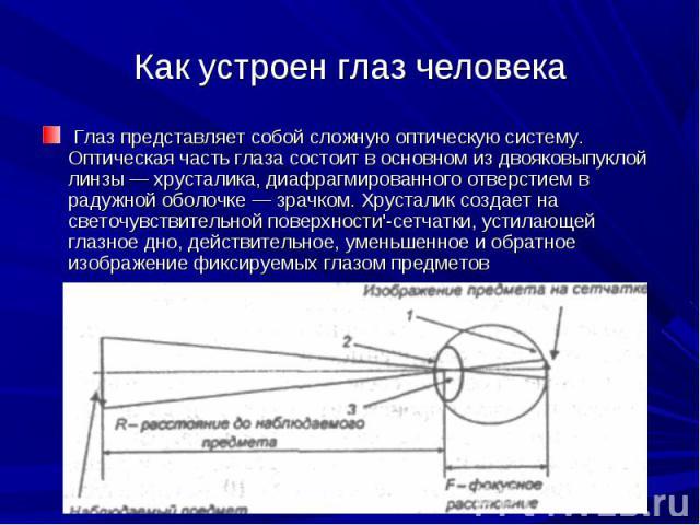 Как устроен глаз человека Глаз представляет собой сложную оптическую систему. Оптическая часть глаза состоит в основном из двояковыпуклой линзы — хрусталика, диафрагмированного отверстием в радужной оболочке — зрачком. Хрусталик создает на светочувс…