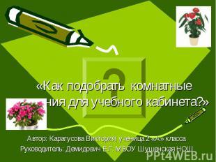 «Как подобрать комнатные растения для учебного кабинета?» Автор: Карагусова Викт