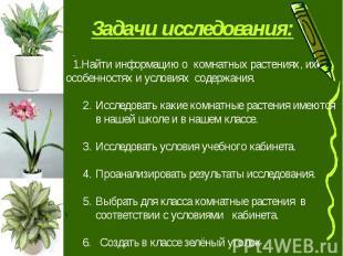 Задачи исследования: Найти информацию о комнатных растениях, их особенностях и у