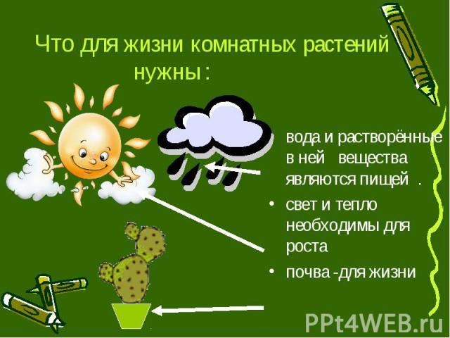 Что для жизни комнатных растений нужны : вода и растворённые в ней вещества являются пищей . свет и тепло необходимы для роста почва -для жизни