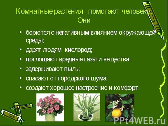 Комнатные растения помогают человеку. Ониборются с негативным влиянием окружающей среды;дарят людям кислород;поглощают вредные газы и вещества; задерживают пыль;спасают от городского шума; создают хорошее настроение и комфорт.