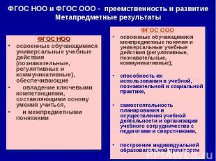 ФГОС НОО и ФГОС ООО - преемственность и развитие Метапредметные результатыФГОС Н
