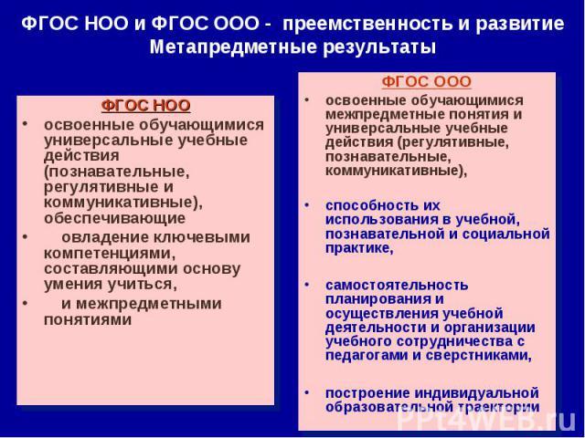 ФГОС НОО и ФГОС ООО - преемственность и развитие Метапредметные результатыФГОС НООосвоенные обучающимися универсальные учебные действия (познавательные, регулятивные и коммуникативные), обеспечивающие овладение ключевыми компетенциями, составляющими…