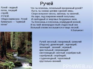 """Ручей - водный поток, текущий струёй.РУЧЕЙ. Общеславянское. Ручей буквально — """"ш"""