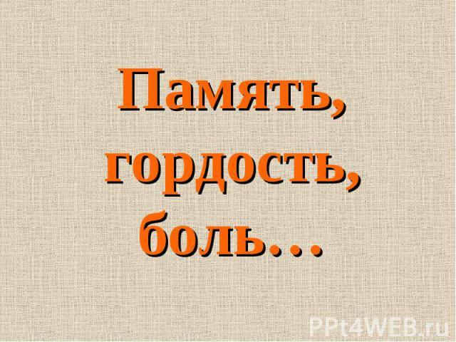 Память, гордость, боль…