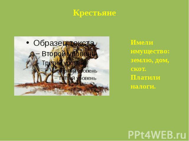 КрестьянеИмели имущество: землю, дом, скот. Платили налоги.