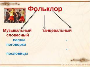 ФольклорМузыкальный танцевальный словесный песни-поговорки-пословицы