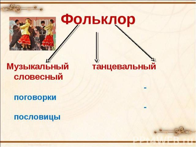 ФольклорМузыкальный танцевальный словесный-поговорки-пословицы