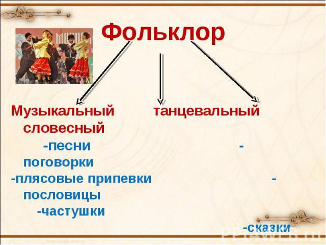 ФольклорМузыкальный танцевальный словесный -песни-поговорки-плясовые припевки-пословицы -частушки -сказки