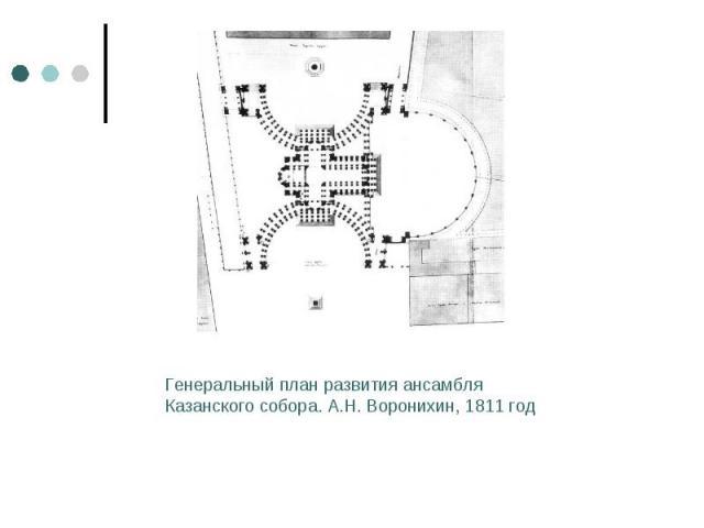 Генеральный план развития ансамбля Казанского собора. А.Н. Воронихин, 1811 год