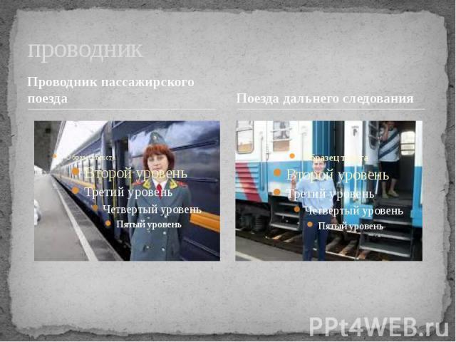 проводник Проводник пассажирского поездаПоезда дальнего следования