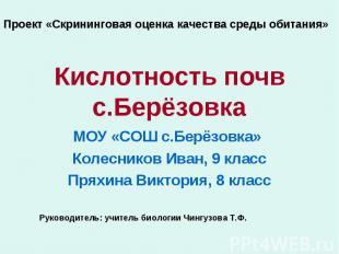 Проект «Скрининговая оценка качества среды обитания» Кислотность почв с.Берёзовк