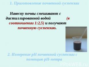 1. Приготовление почвенной суспензииНавеску почвы смешивают с дистиллированной в