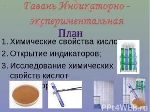Гавань Индикаторно - экспериментальнаяХимические свойства кислот;Открытие индика