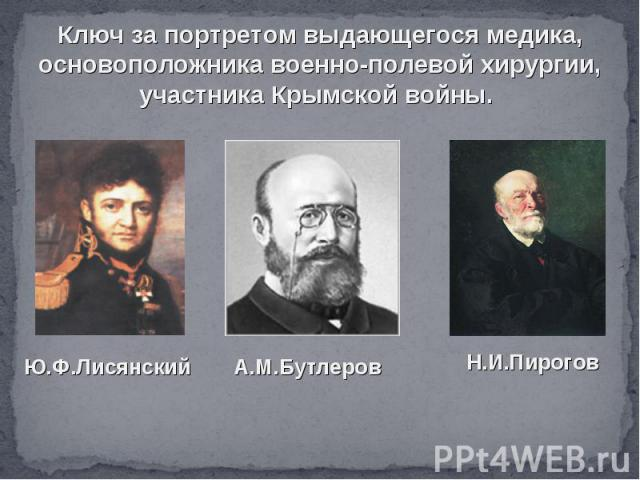 Ключ за портретом выдающегося медика, основоположника военно-полевой хирургии, участника Крымской войны.