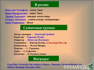 Николай Тимофеев - отец Тани Инна Кондратьева- мать Тани Ирина Радченко- втора