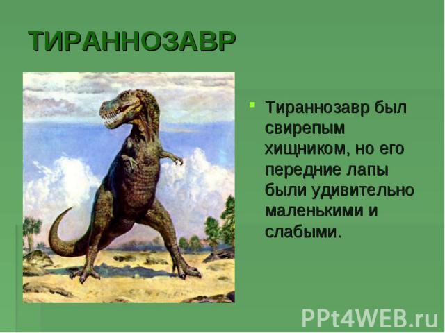 ТИРАННОЗАВРТираннозавр был свирепым хищником, но его передние лапы были удивительно маленькими и слабыми.