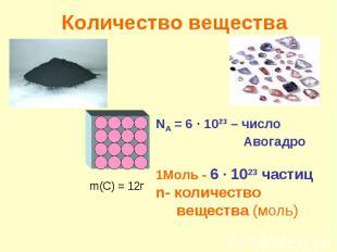 Количество веществаNA = 6 ∙ 1023 – число Авогадро1Моль - 6 ∙ 1023 частиц n- коли