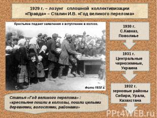 1929 г. – лозунг сплошной коллективизации«Правда» – Сталин И.В. «Год великого пе