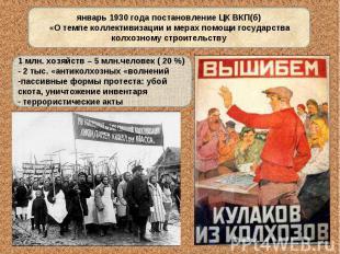 январь 1930 года постановление ЦК ВКП(б) «О темпе коллективизации и мерах помощи