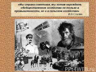 «Мы страна советская, мы хотим нарождать обобществленное хозяйство не только в п