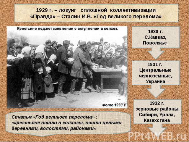 1929 г. – лозунг сплошной коллективизации«Правда» – Сталин И.В. «Год великого перелома»Статья «Год великого перелома» : «крестьяне пошли в колхозы, пошли целыми деревнями, волостями, районами»