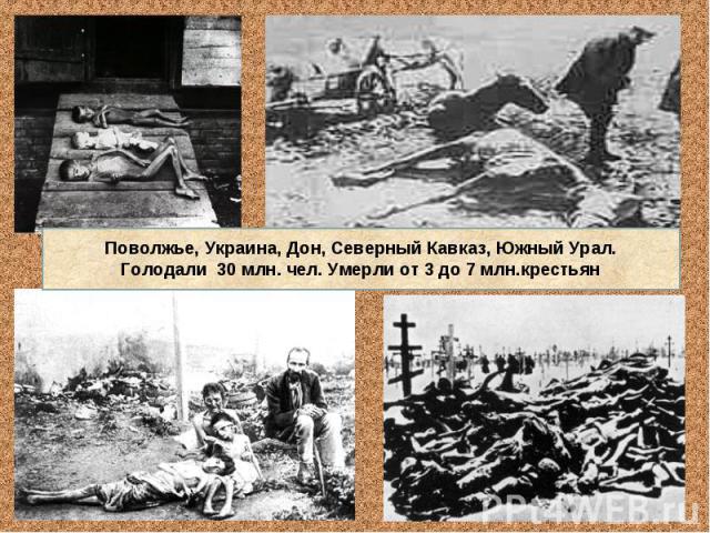 Поволжье, Украина, Дон, Северный Кавказ, Южный Урал.Голодали 30 млн. чел. Умерли от 3 до 7 млн.крестьян
