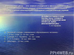 Богатство речи – это знание словарного и фразеологического фонда русского языка,