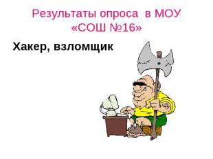 Результаты опроса в МОУ «СОШ №16»Хакер, взломщик