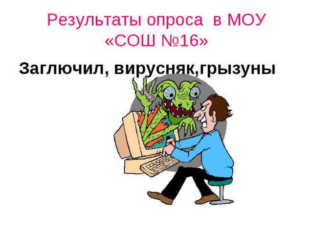 Результаты опроса в МОУ «СОШ №16»Заглючил, вирусняк,грызуны