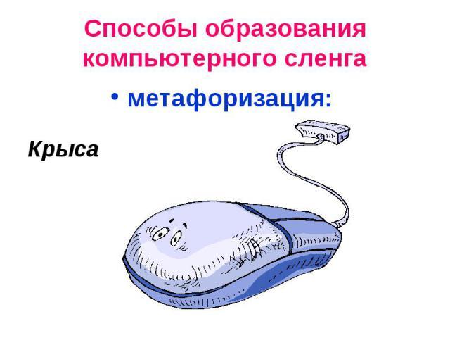 Способы образования компьютерного сленгаметафоризация: Крыса