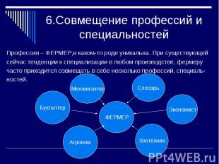 6.Совмещение профессий и специальностейПрофессия – ФЕРМЕР,в каком-то роде уникал