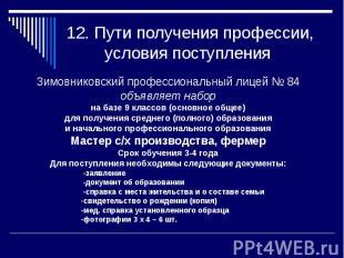 12. Пути получения профессии, условия поступления Зимовниковский профессиональны