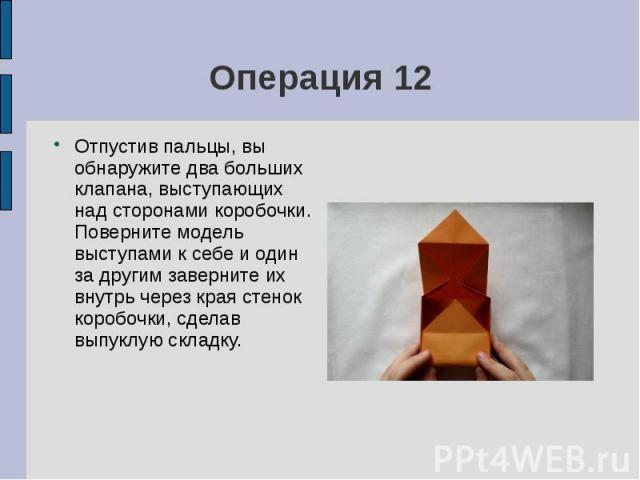 Операция 12Отпустив пальцы, вы обнаружите два больших клапана, выступающих над сторонами коробочки. Поверните модель выступами к себе и один за другим заверните их внутрь через края стенок коробочки, сделав выпуклую складку.