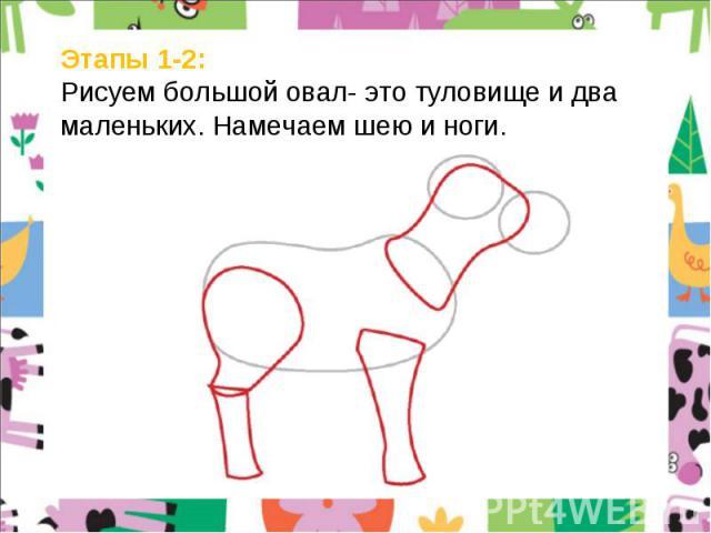 Этапы 1-2: Рисуем большой овал- это туловище и два маленьких. Намечаем шею и ноги.