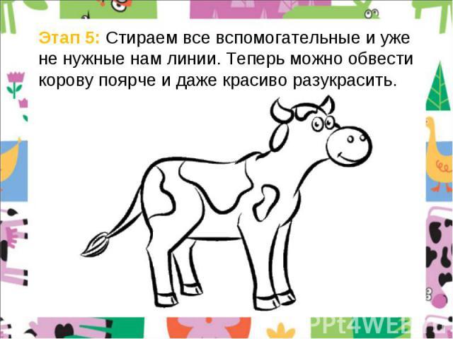 Этап 5: Стираем все вспомогательные и уже не нужные нам линии. Теперь можно обвести корову поярче и даже красиво разукрасить.