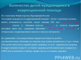Количество детей нуждающихся в коррекционной помощиПо статистике Министерства об