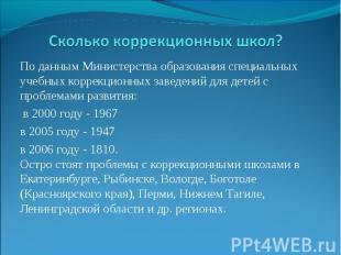 Сколько коррекционных школ?По данным Министерства образования специальных учебны