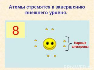 Атомы стремятся к завершению внешнего уровня.