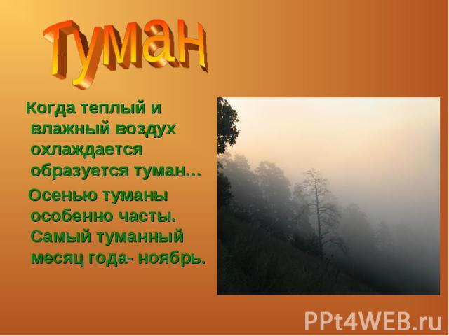 Туман Когда теплый и влажный воздух охлаждается образуется туман… Осенью туманы особенно часты. Самый туманный месяц года- ноябрь.