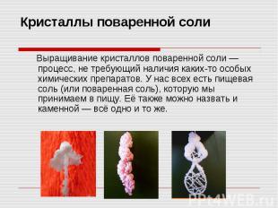 Кристаллы поваренной соли Выращивание кристаллов поваренной соли — процесс, не т