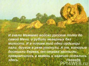 И гнали Мамаево войско русские полки до самой Мечи, и рубили неверных без милост