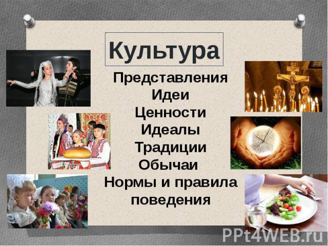 КультураПредставленияИдеиЦенностиИдеалыТрадицииОбычаи Нормы и правила поведения