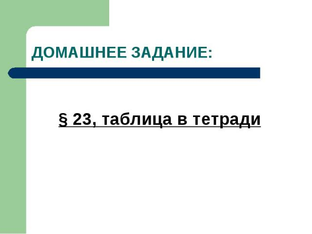 ДОМАШНЕЕ ЗАДАНИЕ:§ 23, таблица в тетради