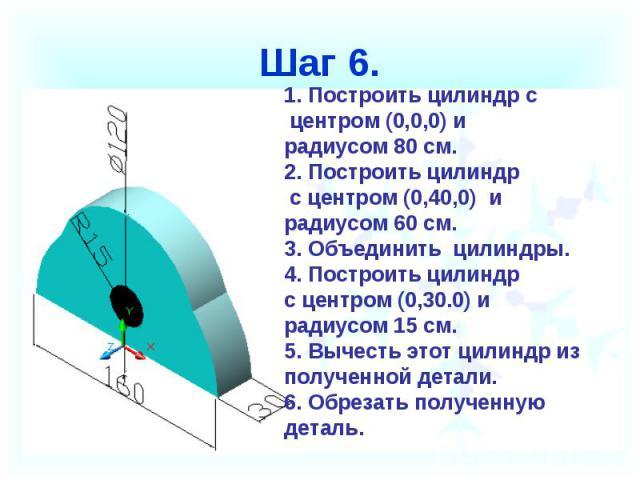 Шаг 6. Построить цилиндр с центром (0,0,0) ирадиусом 80 см.2. Построить цилиндр с центром (0,40,0) и радиусом 60 см.3. Объединить цилиндры.4. Построить цилиндр с центром (0,30.0) и радиусом 15 см.5. Вычесть этот цилиндр из полученной детали.6. Обрез…