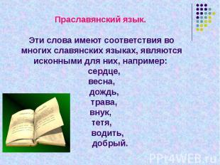 Праславянский язык. Эти слова имеют соответствия во многих славянских языках, яв